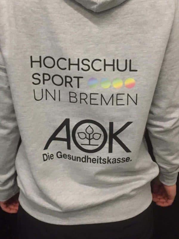 """Bedruckter Kapuzenpullover """"Hochschulsport Uni Bremen"""" von hinten"""